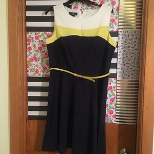 Dresses & Skirts - Navy a-line dress with belt
